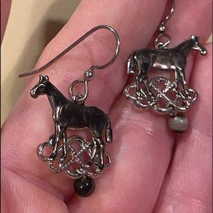 New Pewter Horse Dangle earrings